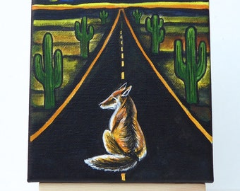 Fox highway folk art original painting dream journey strange surreal cartoon cactus desert Arizona American west road trip bold canvas