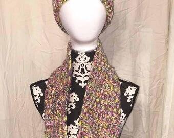 Bright Rainbow Crochet Cowl and Beanie Set