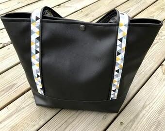 "Black leather imitation Handbag, ""jimit"" trendy tote bag"