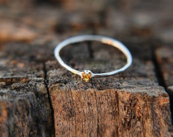 Topaz, sterling silver hammered stacking ring with 2mm stone