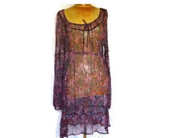 Vintage Boho Dress,Semi Sheer Purple Paisley and Floral Dress,Long Sleeved Midi Dress,Viscose Peasant Style Dress,Vintage Boho Fashions