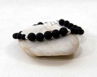 Unisex Natural Lava and Matte Black Onyx Beads Bracelet, Mens Beads Natural Lava and Matte Black Onyx with Sterling Silver Bracelet