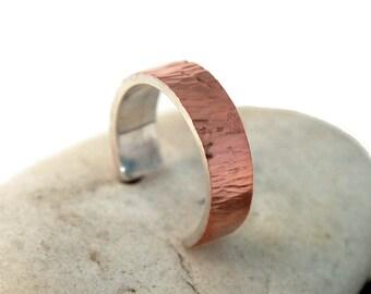Adjustable Mens Copper Wedding Band Ring. Copper Wedding Band Ring Tree Bark imitation. Mens Adjustable Rustic Copper Band Ring