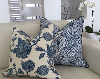 Hampton's Style Cushions, Blue and White Damask Cushion Covers. Hampton's Style Pillows, Decorative Pillow, Cushion Cover, Coastal