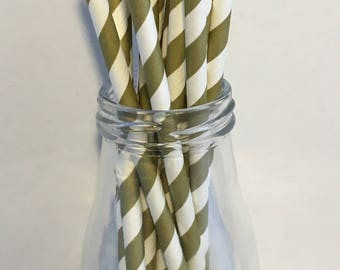 Gold Stripe Paper Straws, Mason Jar Straws, Party Decor, Straws