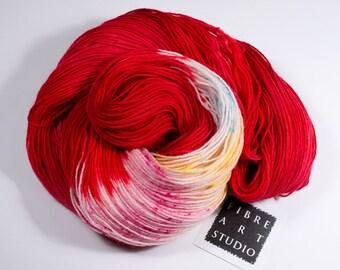 Christmas Sock Yarn | Speckle Yarn | 100g 400 yds | Hand Dyed Sock Yarn | Spiral Red Yarn | 75/25 Superwash Wool/Nylon | Candy Cane