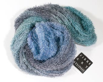 Big Kid>> Kid Mohair Boucle Loop Yarn | Aran Weight 100 g 210 yards | Pale Blue Gray Green | Weaving Variegated Yarn  | Lady of the Lake
