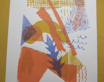Spring Scraps 1 Colourful Abstract Collage Screen Print 56cm x 38cm