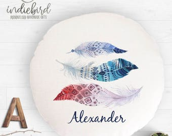 Personalised feather cushion, kids round cushion, nursery cushion, children's room decor, personailsed gift.
