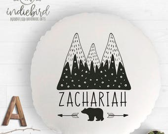 Personalised mountain cushion, mountain monochrome, adventure awaits cushion, nursery cushion, boys room decor.