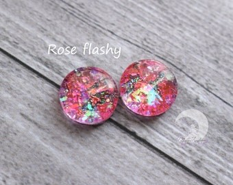 Glitter blind Eyechips Pullip and Yeolume glass - size 12 or 13mm - Rose - Flashy NEW!