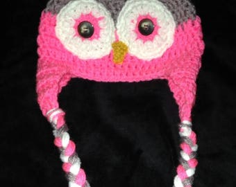 Child's Owl Beanie with Braids