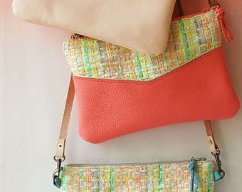 Leather clutch, small leather handbag, crossbody bag, real leather, pastel colors, fancy tweed, removable strap, vegetable tanned leather