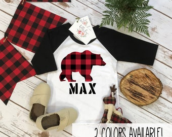 Personalized Boy Shirt, Lumberjack Shirt, Buffalo Plaid Bear, Custom Name Shirt, Lumberjack Party, Woodland Party,Baby Shower Gift,RED PLAID
