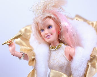 Glitter N' Gold Jem Doll, with stand and accessories, WORKING, Rare Vintage Jem and the Holograms, Hasbro 80s, vintage jem dolls, hasbro jem