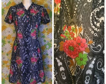 60s 70s Vintage Floral Psychedelic Chiffon Dress Medium Large
