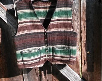 Southwestern boho vest wool ~ Native Tribal Vest 1970's hippie