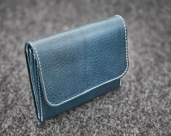 Hand-stitched leather wallet / Ocean Blue / Handmade