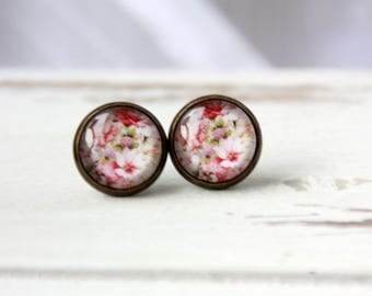 Earrings, 12 mm, flower, flower, flower stud earrings, stud earrings, earrings flower