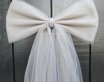 Silver Grey Tulle Pew Bow | Optional Silver or Gold Bling | Wedding Ceremony Decorations | Church Aisle | Chair Sash | Party Bridal Shower
