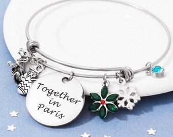 Together in Paris Bracelet, Personalized Bracelet, Adjustable Bangle, Once Upon a December, Birthstone Bracelet, Personalized Jewelry,