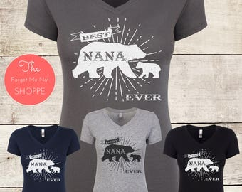 Best NANA Bear Ever! V Neck Shirt, Grandma, Grandmother, Grandparents , gift, soon to be, Tee, present, family, expectant, baby