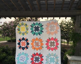 Handmade Quilt   Swoon Quilt   Multi-Colors Quilt   Star Quilt   Modern Quilt   Queen Quilt