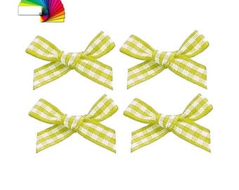 10 gingham bows 2 cm