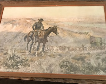 "Vintage Custom Framed Print Charles Russell signed 1909 "" Wagon Boss""-"