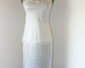 Vintage 1970s White Camisole and slip set