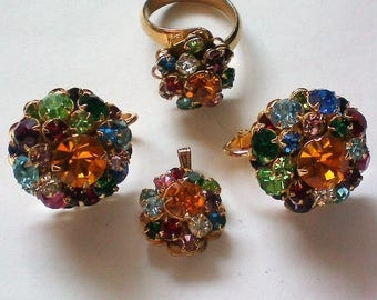 Judy Lee Fruit Salad Pendant, Clip Earrings, and Ring Set - 5598
