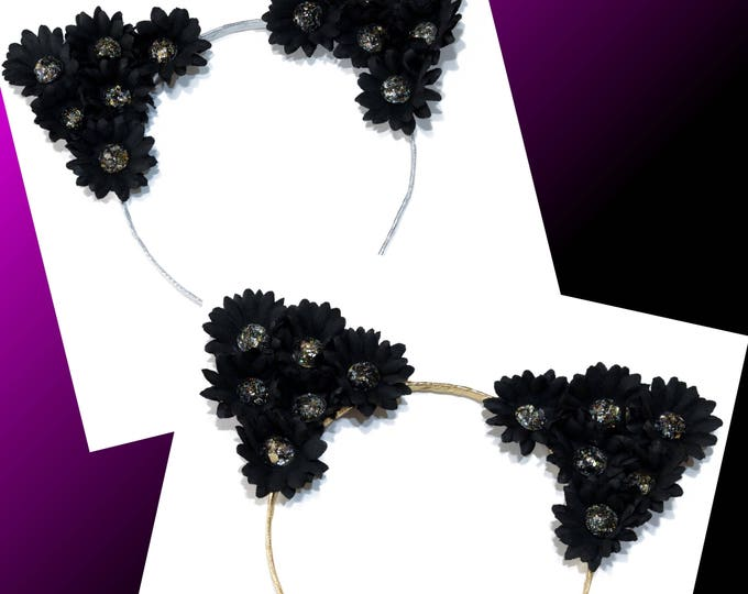 Black Jewel Cat Ears Headband