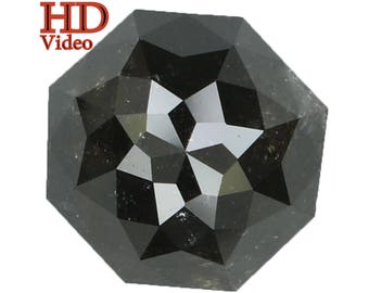 3.74 Ct Natural Loose Diamond Hexagon Grey 8.60X8.30X5.60MM I1 Clarity L2799