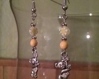 Bear charm earrings