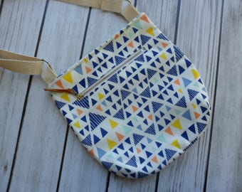 Hipster Bag, Geometric Bag, Small Tote, Crossbody Purse, Triangle Print