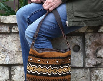 Brown Leather Every Day Bag- Brown Leather Shoulder Bag- Christmas gift for wife - African Mud Cloth - Soft Brown Leather Shoulder Bag