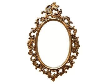 Large Vintage 1964 Burwood Gold Mirror - Large Ornate Gold Mirror - Large Oval Gold Mirror - Victorian Gold Mirror - Burwood Mirror - Ornate