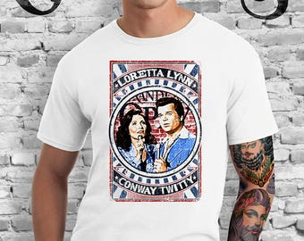 Loretta Lynn and Conway Twitty White T-Shirt Coal Miners Daughter. Duet. Duo. Country Music. Knoxville. Nashville. TN.