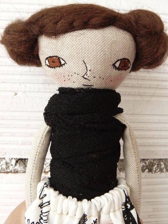 Art doll. Mohair hair. 27 cm.