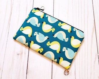 Birdsong Teal Small Zipper Pouch