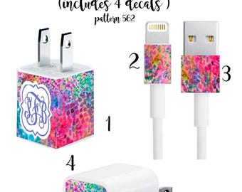 Iphone Charger Wrap, Monogram Iphone charger decal in Pattern 562 with Quatrefoil Monogram