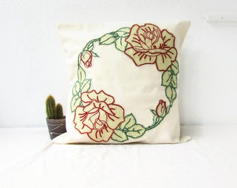 Hand embroidered cushion cover, red rose pillow,16 inch pillow cover, country cottage chic, rustic home decor gift, handmade in the UK