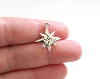 Sterling Silver North Star Compass Charm, North Star Charm, Guiding Star Charm, Compass Charm, Celestial Star Charm, Star Compass Pendant