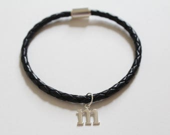 Leather Bracelet with Sterling Silver Typewriter M Letter Charm, Bracelet with Silver Letter M Pendant, Initial M Charm Bracelet, M Bracelet