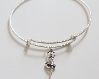 Sterling Silver Bracelet with Sterling Silver Ballet Dancer Charm, Ballet Bracelet, Ballerina Charm Bracelet, Ballerina Bracelet, Ballet