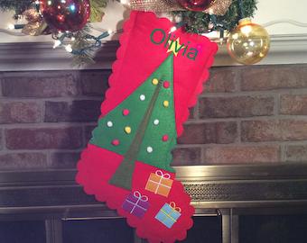 Christmas Tree Applique Felt Christmas stocking, Personalized Christmas Stockings, Christmas stocking, Felt Stockings, Child's Stocking
