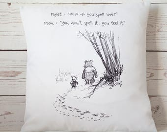 "Love -  16"" Cushion Pillow Cover Winnie the Pooh - UK Handmade"