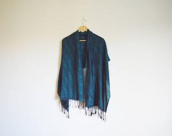 vintage large turquoise paisley print bohemian shawl