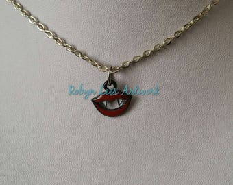 Tiny Red, Black & White Vampire Fangs Teeth and Lips Charm Necklace on Silver, Bronze, Gold or Gunmetal Chain or Black Faux Suede Cord