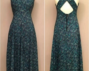 Vintage 80s 40s Rayon Grunge Boho Dress Blue Ditsy Floral Calico Cross Strap M/L